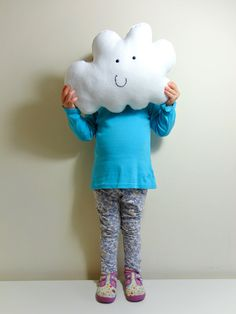 MR HAPPY CLOUD  White Cloud Pillow / Cushion by Claireoncloud9, £20.00
