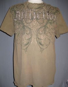 4a797000 Affliction Adult X-Large Olive Green T-Shirt (XL UFC MMA Martial Arts