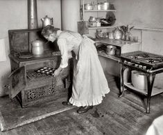 Woman Baking Muffins Old Stove Vintage Reprint Old Photo