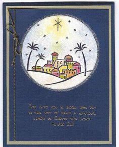 Holy City at Night City of David homemade Christmas card