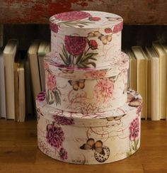 Light Floral Pink W/ Butterflies Decorative Hat Boxes Item 24950 / Set of 3 hat boxes feature a floral and butterfly design. Boxes nest inside one another for easy storage. Large: 12 x 5 Medium: x Small: 8 x 4 Collections Etc. Vintage Box, Vintage Shabby Chic, Collections Etc, Decoupage Vintage, Hat Boxes, Pretty Box, Altered Boxes, Nesting Boxes, Dose