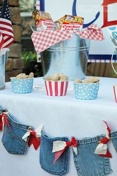 Denim garland - cute alternative to bunting for 4th of July or for a child's birthday.