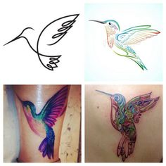 Hummingbird Tattoos that I love!! Trying to figure out if I can have the word love made in the wing of the top left...