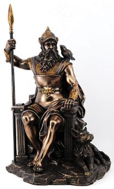 Odin (also known as Wotan, and Woden), the All Father, the Wanderer, and the Chief of the Norse Gods, is shown here in regal pose upon the legendary throne Hlidskjalf. Hlidskjalf, an elevated place wi