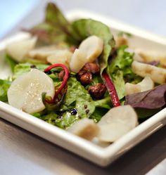 Salade de topinambours, vinaigrette à la noisette