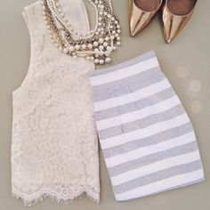 Lace, stripes and pearls