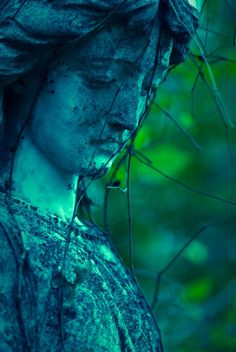 Cemetery Photograph - Angel - Blue and Green - Tombstone - Sadness and Mourning - Graveyard - Angel - 8 x 12 - Fine Art Photo