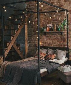 Bohemian Bedroom Decor, Bohemian House, Industrial Bedroom Decor, Industrial Loft Apartment, Industrial Homes, Industrial Lighting, Dream Rooms, Dream Bedroom, Steampunk Bedroom