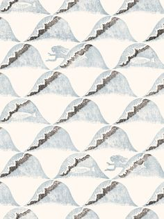 Edward Bawden Wallpaper | Wave (1929) Bawden Blue, Sand and Shadow. Our second V&A archive print. Originally printed by the Curwen Press