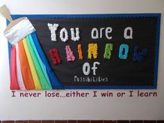 classroom display - Here is our Rainbow display that the Year 5 children made! You are a rainbow of possibilities. I never lose…either I win or I learn. A great motivational display. With thanks to Thomas Harding Junior School for sharing this display. Primary Classroom Displays, Year 4 Classroom, Ks1 Classroom, Early Years Classroom, Classroom Walls, Classroom Furniture, Classroom Organisation Primary, Infant Classroom Ideas, Classroom Wall Quotes