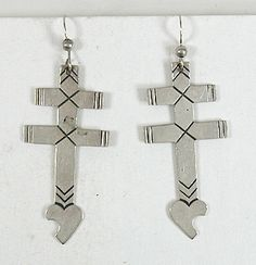 Navajo sterling silver Isleta Cross with Bleeding Heart Wire earrings
