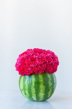 Make A Cute Watermelon Centerpiece While You're At ItDelish Watermelon Centerpiece, Watermelon Flower, Watermelon Crafts, Cute Watermelon, Mexican Party Decorations, Summer Party Decorations, Watermelon Party Decorations, Birthday Centerpieces, Floral Centerpieces