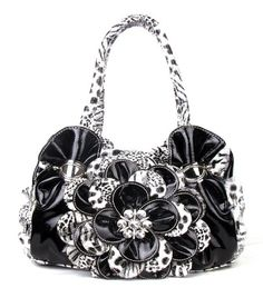 Black Leopard Flower Rhinestone Fashion Handbag Purse