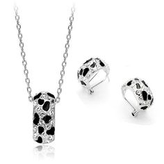 Authentic Austrian white crystal 18k white gold plated leopard-print necklace earrings jewelry set [JS403] - US$11.64 : www.evernewfashion.com