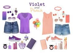 """Color combination: Violet and Peach"" by sheebs43 on Polyvore featuring Topshop, NIKE, Sydney Evan, Casetify, Puma, MANGO, Splendid, Boohoo, Vera Wang and Ray-Ban"