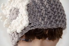 Chunky Knit Head Band/Neck Cowl Taupe with Flower by Kakodah