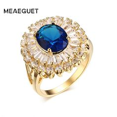 Meaeguet Bijoux Fashion Rings for Womens Blue CZ Stone Gold-Color Copper Bling Cubic Zirconia Ring for Wedding Engagement Rings #Affiliate