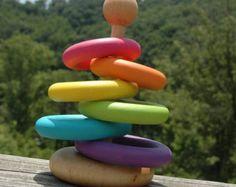 Montessori Inspired Little Stacker Wooden Bright Rainbow Baby Toy