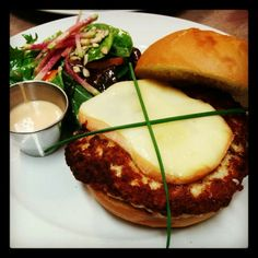 Homemade 9oz Turkey Burger with Oka Cheese, Chipotle Mayo and a Mixed Green Salad