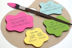 Items similar to Signature Artist's Palette Birthday Invitations · Die Cut · Fuchsia Yellow Green Aqua Orange · Painting Party Art Themed Party, Birthday Party Themes, Birthday Invitations, Art Party Invitations, Invites, Unique Invitations, Artist Birthday Party, Birthday Ideas, Birthday Wall