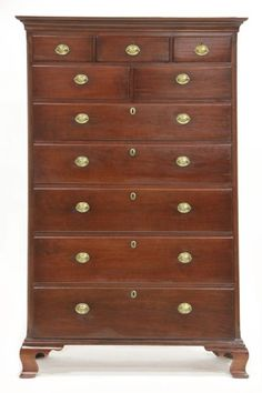 Lot # : 716 - North Carolina Chippendale Tall Chest of Drawers