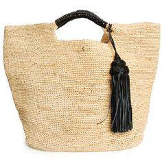 Oversized raffia straw bag, plaited black leather handles, black leather tassel, 100% Raffia, 100% Leather.