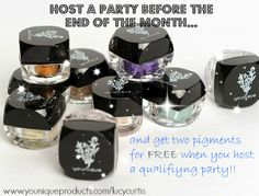 I'm giving away #FREE pigments from #Younique How would you like to get two FREE pigments  on top of your rewards when having a qualifying party? Let me help you host a online party! you can visit my FB page Lucy Curtis-Younique Presenter or you can visit www.youniqueproducts.com/lucycurtis for more info or to contact me. #younique #youniquebylucy #beauty #freepigments #free #rewards #minerals #host #online #party