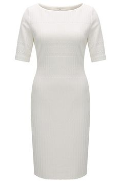 A distinctive short-sleeved dress in a comfortable jersey jacquard by BOSS Womenswear. Featuring a subtle textured irregular stripe and an extended rear slit, this feminine silhouette is finished with a wide boat neckline and neat zip closure. Combine this contemporary piece with colourblock trainers for an athletic spin on everyday elegance.