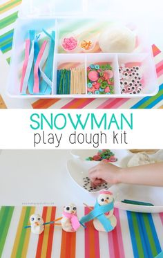 Sparkly white play dough, matchsticks, buttons, googly eyes, and little felt scarves make up this simple but fun snowman play dough kit. Playdough Activities, Preschool Crafts, Toddler Activities, Preschool Activities, Team Building Activities, Toddler Fun, Toddler Crafts, Crafts For Kids, Preschool Christmas