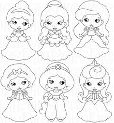 LITTLE PRINCESSES B&W Digital Clip Art Set -Personal and Commercial- Cinderella, Belle, Ariel, Snow White, Sleeping Beauty, Jasmine