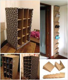 Incredible Shoe Rack Ideas - Dandj Home - Recent shoe storage ideas for college to refresh your home - Shoe Storage Vertical, Diy Shoe Storage, Diy Shoe Rack, Diy Storage Boxes, Storage Ideas, Diy Shoe Box, Diy Cardboard Furniture, Cardboard Storage, Cardboard Box Crafts