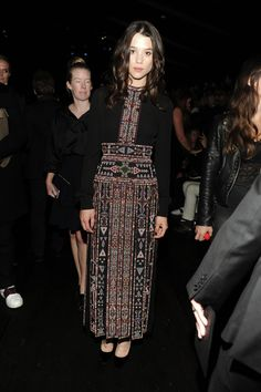 Astrid Berges-Frisbey in a Valentino dress from the Spring 2016 collection to the Women's Spring/Summer 2016 fashion show on October 6th, 2015.
