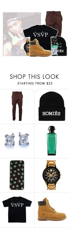 """- - chad."" by kvngbrii ❤ liked on Polyvore featuring I Love Ugly, Brian Lichtenberg, Blue Nile, Hermès, O-Mighty, Versace and Timberland"