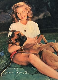 Lauren Bacall and her dog