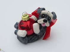 Schnauzer Dog Christmas Ornament Polymer Clay by HeartOfClayGirl, $17.95