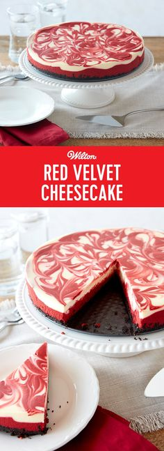 Red Velvet Cheesecake Recipe - Rock the Christmas red with this creamy Red Velvet Cheesecake. Start by making a rich cookie crust, and then adding red chocolate and cream cheese layers. Finish by swirling the two layers together for a lovely marbled look. This will be a new holiday favorite! #redvelvet #cheesecake #christmas #wiltoncakes