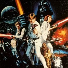 Star Wars: Episode IV - A New Hope in US theaters May 1977 starring Mark Hamill, Harrison Ford, Carrie Fisher. After finding a pair of droids, Luke Skywalker leaves his home planet to save Princess Leia from the clutches of Darth Vader. Star Wars Poster, Poster Poster, Print Poster, Poster Wall, Canvas Poster, Star Wars Episódio Iv, Star Wars Font, Star Trek, Mark Hamill