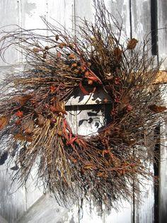 Rustic fall front door wreath.
