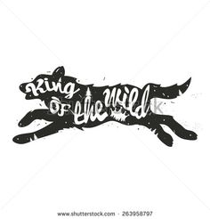 Vector hand drawn typography poster. Running wolf silhouette. King of the wild. Inspirational illustration - stock vector