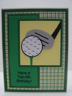 Handmade Greeting Card: Happy Birthday Card, Golf, Golfing, Golfer, Golf Club, Masculine Card, Card for Man, Men's Birthday Women's Birthday... - originally designed by Heather of blogloving.com
