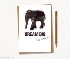 "Inspirational card - Printable - 4""X6"" Digital file - Instant download - (Elephant) -"