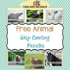 Free Skip Counting Animal Puzzles, Count by and is a set of nine picture puzzles for skip counting practice. They are self correcting. The animal theme will engage learners and offer guided practice as the final picture will control for errors. Preschool Learning, Teaching Math, Preschool Activities, Maths, Counting By 2, Counting Puzzles, Guided Practice, Bear Theme, Math Work