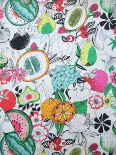 ALEXANDER HENRY  TROPICAL PUNCH - NATURAL  100% COTTON  SOLD AND PRICED BY THE YARD - 36 x 44 WIDE  Alexander Henrys fun Tropical Punch print features artsy fruit and flower drawings in bold color on a natural background. The strawberries measure approx. 4.25 x 4.25 and the fabric is on a 24 repeat.