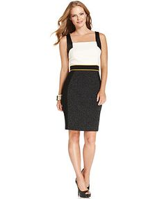 Ivanka Trump Dress, Sleeveless Faux-Leather Colorblock Sheath