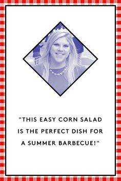 """7 Delicious Sides For Your Next Barbecue #refinery29  http://www.refinery29.com/bbq-recipes#slide1  Paige Viollt of Tomatoes for Cucumbers Summer Corn Salad  """"One of my favorite things about summer is fresh corn from the farmer's market. This easy corn salad is the perfect dish for a barbecue! It is great as a side, or eaten with tortilla chips as a salsa.""""    4 ears of corn  1/2 pint grape tomatoes  1/4 cup red onion, chopped  1/4 cup fresh basil, chopped  1/4 cup red wine vinegar  1 tsp ....."""