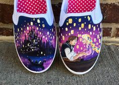 Items similar to Disney tangled painted shoes - disney painted shoes - rapunzel - tangled on Etsy Disney Vans, Disney Shoes, Disney Outfits, Disney 2017, Disney Clothes, Disney Fashion, Disney Painted Shoes, Hand Painted Shoes, Painted Clothes