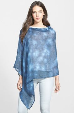 Free shipping and returns on Eileen Fisher Linen Poncho (Online Only) at Nordstrom.com. A rich indigo hue colors an airy poncho spun from fine Italian linen and designed for a drapey, asymmetrical finish. A slouchy slit neckline skims the collarbone for a flattering effect.