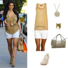 Kim Kardashian    Kim K Caged Ankle Boots – Endless $88    Kim K Safari Sleeveless Tan – Topshop $66    Kim K White Short – Zappos $42    Kim K Tribal Gold Zig Zag Bracelet – $62    Kim K Motorcycle Handbag – SilverFever $35