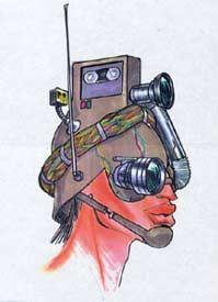 1993 - Jean Paul Gaultier sketch - ' camera' hat  for  'Kika' A Pedro Almodovar movie