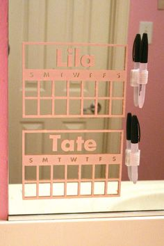 Here's a cute vinyl chart idea with vinyl on the bathroom mirror!